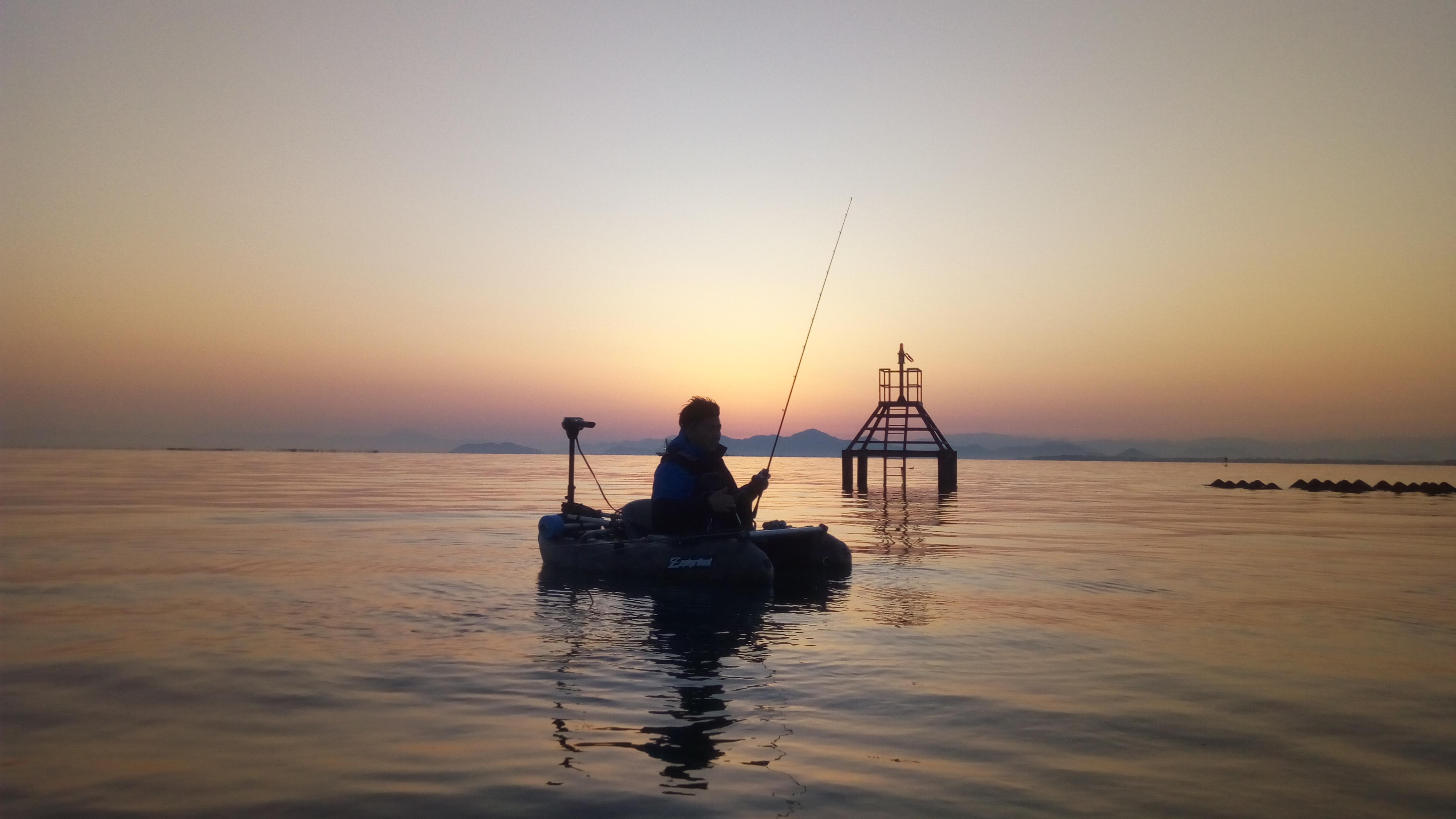 北湖取水塔狙い、フローターガイド