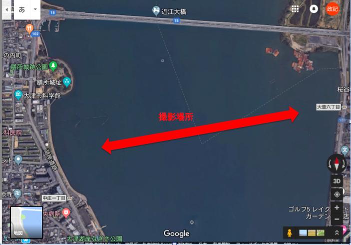 琵琶湖南湖近江大橋南のおかっぱり、ボートおすすめポイント全体図
