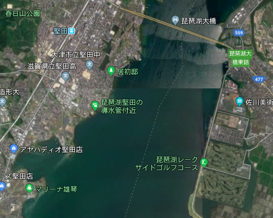 琵琶湖木の浜の幅が狭い事を示す写真