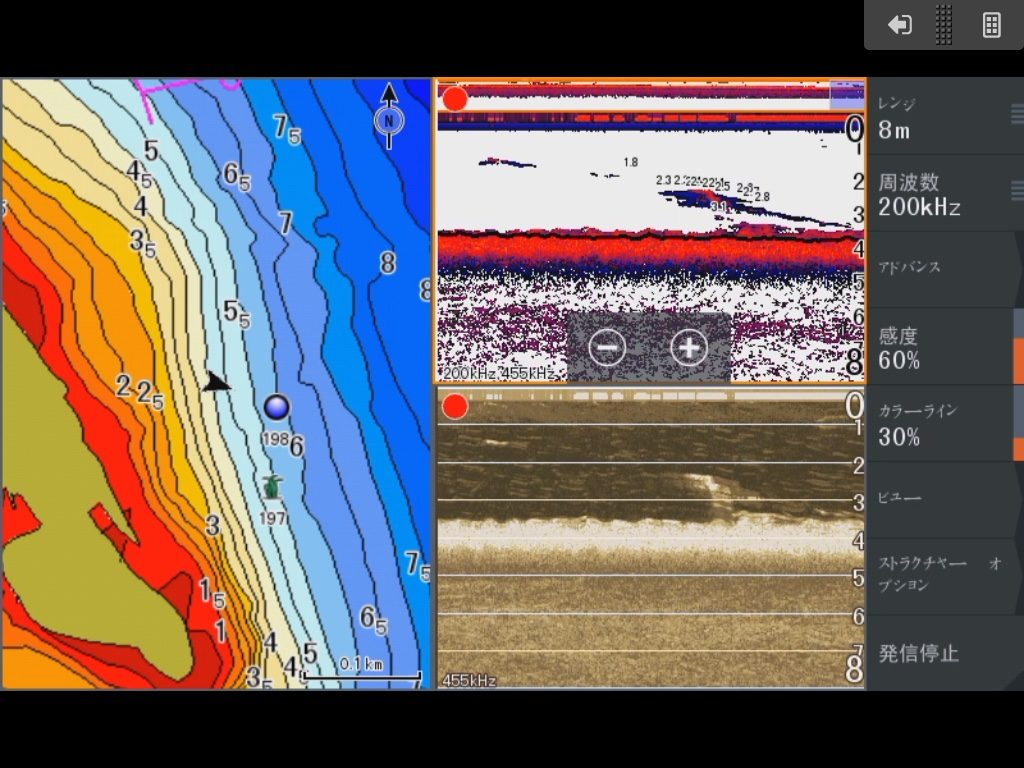 琵琶湖真野川河口北、水深4Mラインの魚探画像