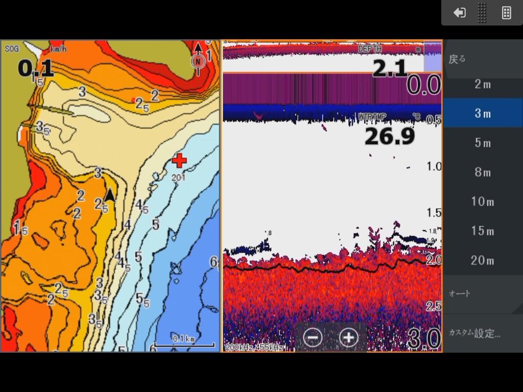 真野川河口南 、ワンドエリア水深3M前後の場所を映した魚探映像