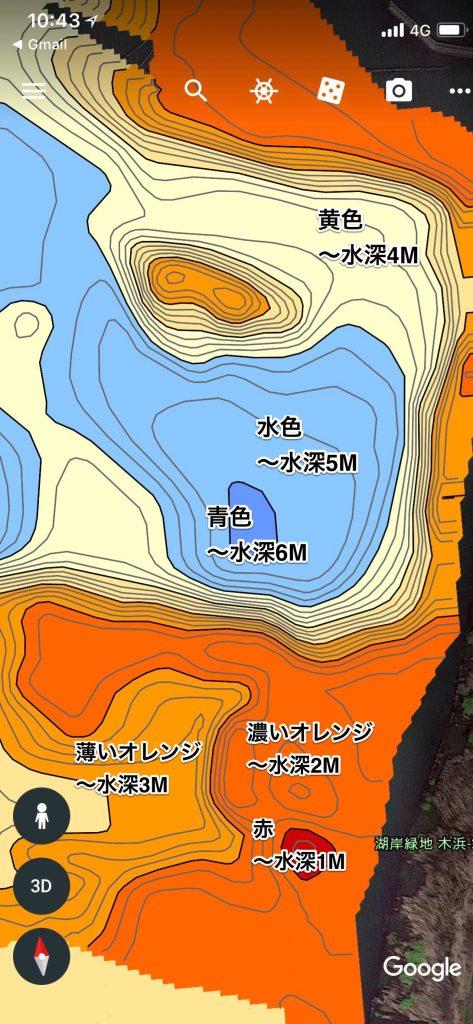 琵琶湖木の浜3号水路付近水中マップ