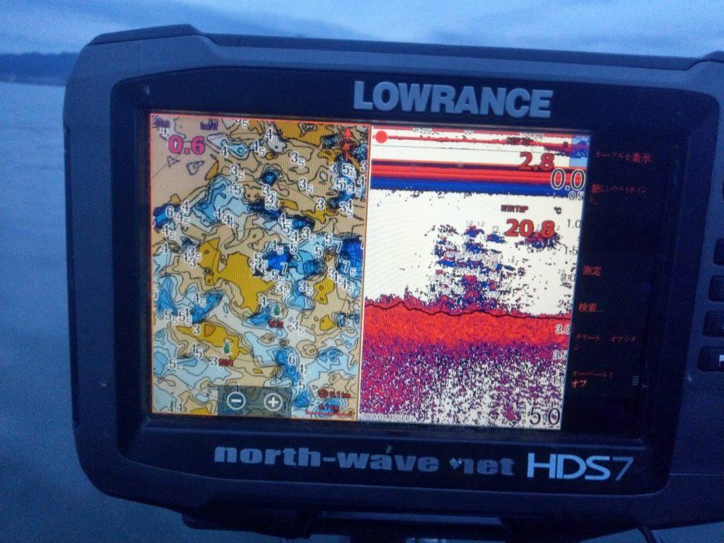 ウィードが水面まで伸び切っていないことが分かる魚探画像